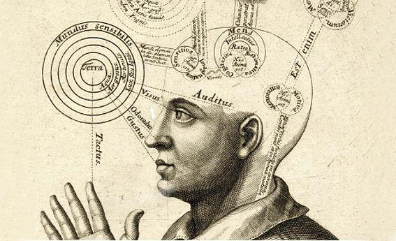 La pensée humaine. Cerveau d'un homme avec les zones relatives au sens, à l'imagination, à l'intellect..., gravure sur cuir, milieu du 17e siècle